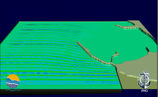 Fig 4 A three-dimensional view of southerly waves, traveling into Shaheed Beheshti Port based on mathematical modeling results