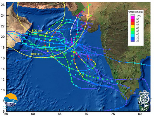 Fig 1 Tropical Storm Tracks Within 1000 km of the Eastern End of the Oman Sea Coastline